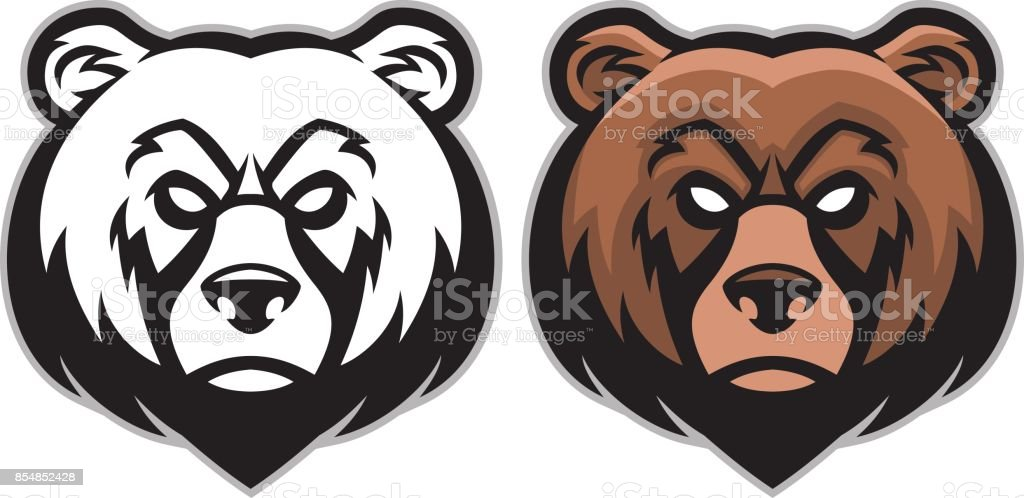 angry bear head mascot vector art illustration