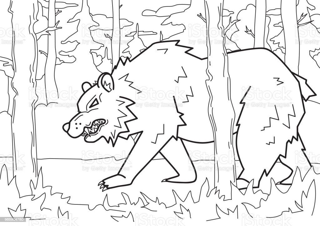 Ilustración de Enojado Oso Caminando Por El Bosque Ilustración ...