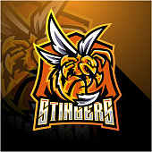 Illustration of Angry bee esport mascot logo design