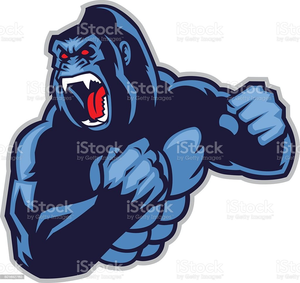 angry big gorilla vector art illustration
