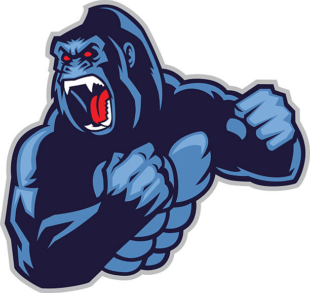 ilustraciones, imágenes clip art, dibujos animados e iconos de stock de angry gran gorila - gorila