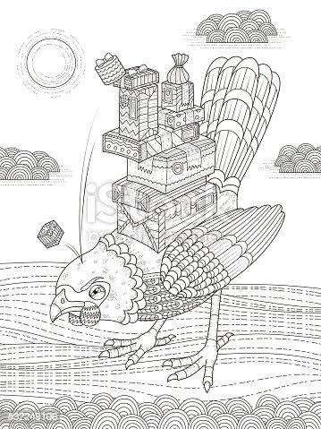 Angry Pájaro Adultos Página Para Colorear Illustracion Libre de ...