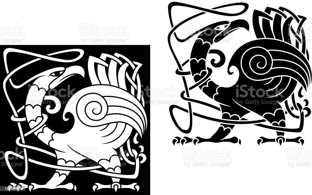 Angry bird in celtic style royalty-free stock vector art