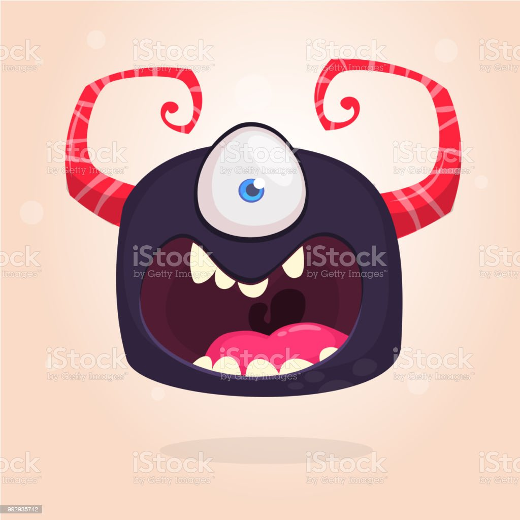 Angry Black Cartoon Monster With One Eye Big Collection Of Cute Monsters Halloween Character Vector Illustrations Good For Book Illustration Magazine Prints Or Journal Article Stock Illustration Download Image Now Istock