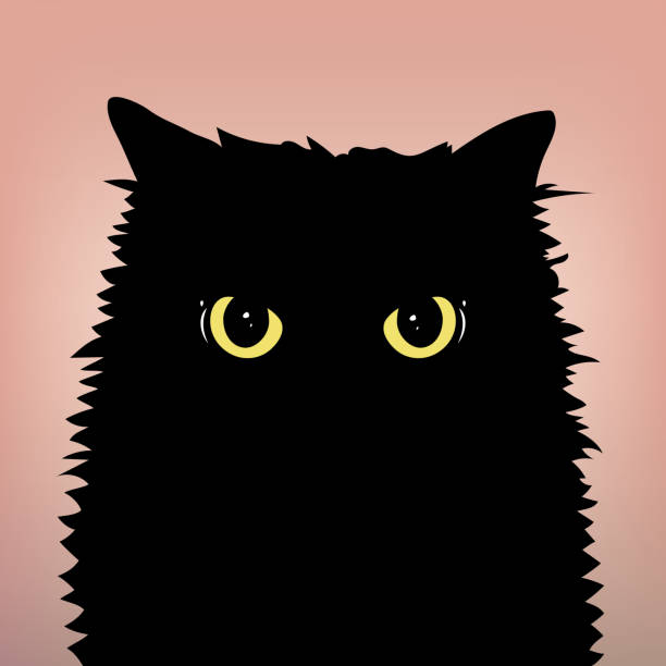 Angry black cat face with big eyes on the peach color background. Yellow cat's eyes. Flat and minimal style. Vector Illustration. Angry black cat face with big eyes on the peach color background. Yellow cat's eyes. Flat and minimal style. Vector Illustration. black cat stock illustrations