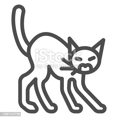 istock Angry black cat line icon, halloween concept, hissing cat sign on white background, scared cat with arched back icon in outline style for mobile concept and web design. Vector graphics. 1287147726