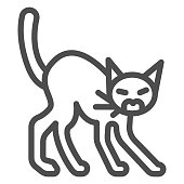 Angry black cat line icon, halloween concept, hissing cat sign on white background, scared cat with arched back icon in outline style for mobile concept and web design. Vector graphics