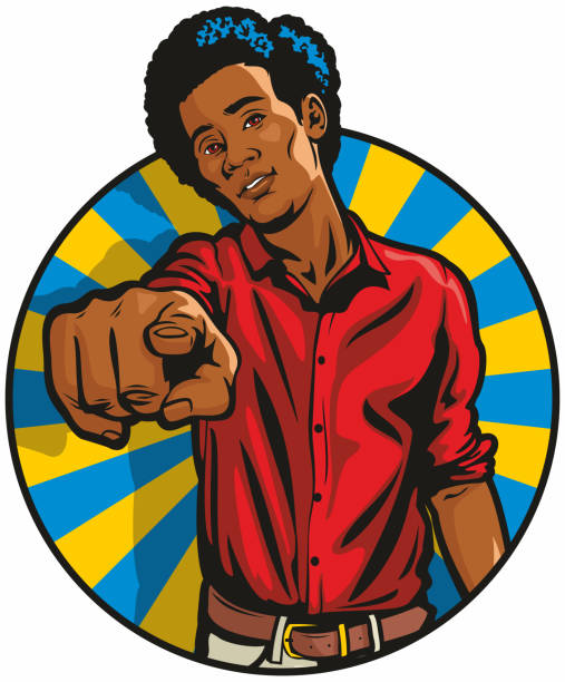 Angry Black Man Pointing at You vector art illustration