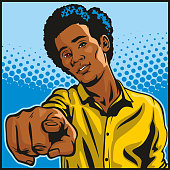 Pop art style retro illustration of a handsome but angry young black man pointing directly at the viewer.