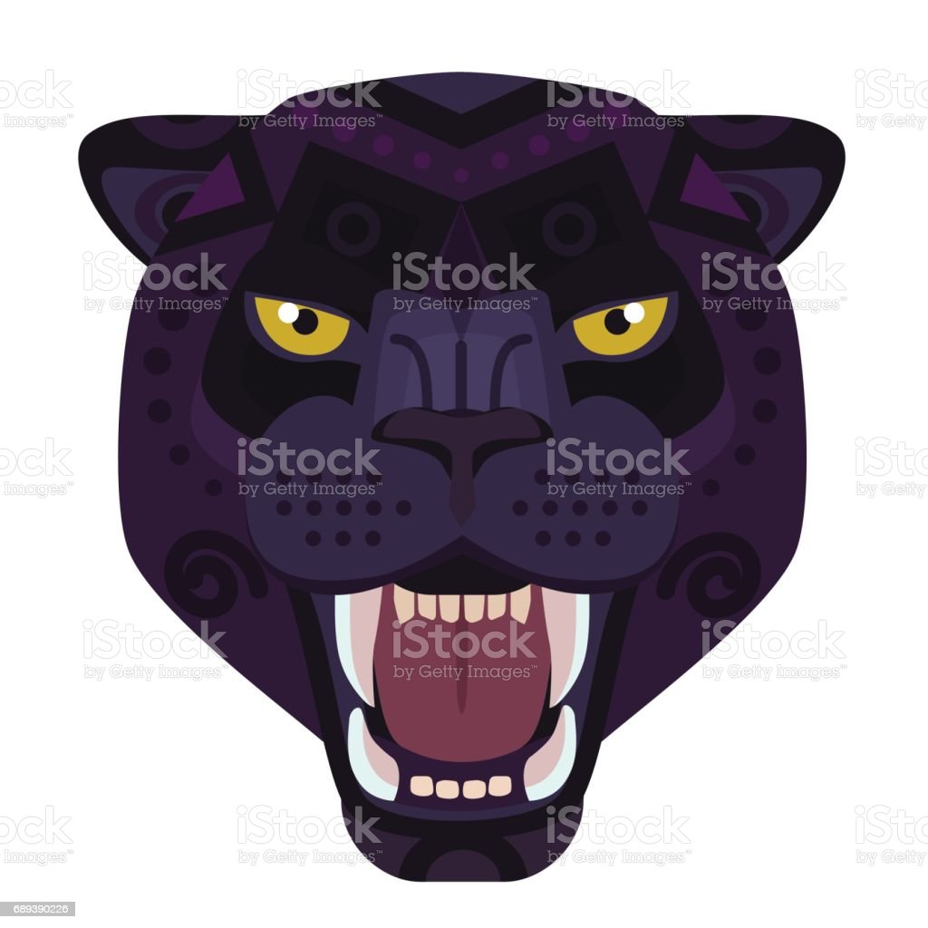 Angry black panther head icon. Wild cat vector decorative Emblem.