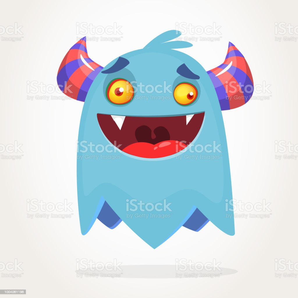 Angry Blue Cartoon Monster With Horns Stock Illustration Download Image Now Istock