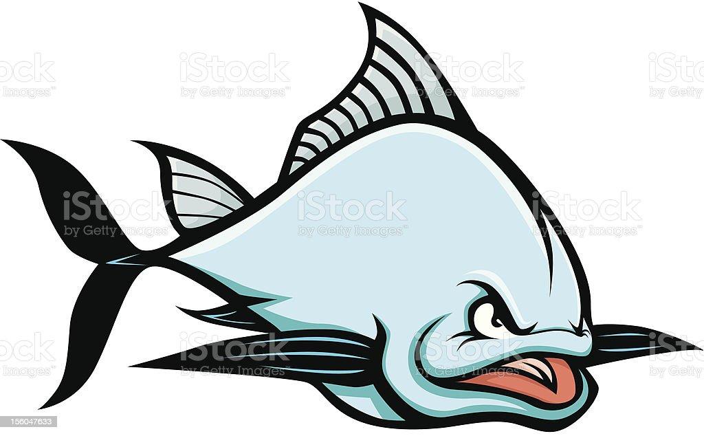 Angry Blue Fin Tuna Cartoon Illustration royalty-free stock vector art