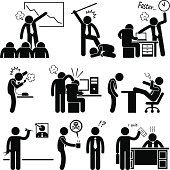 A set of human pictogram representing an angry boss abusing his employees.
