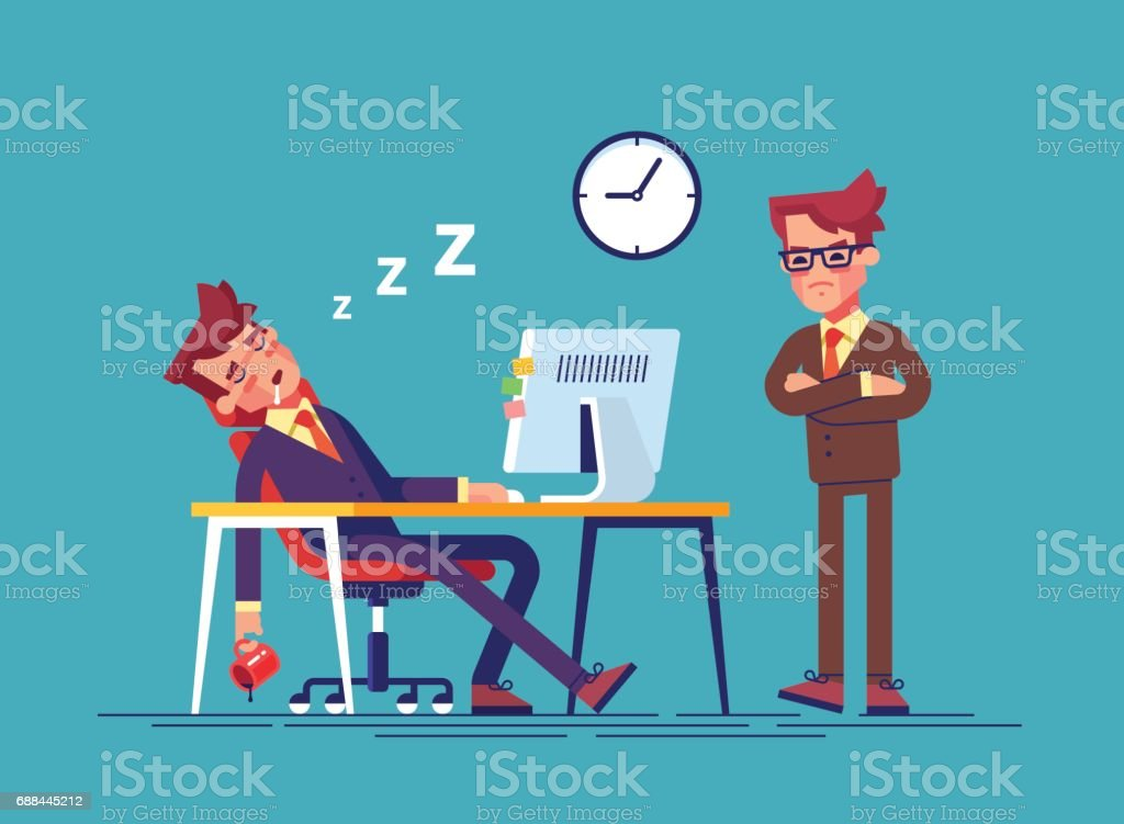 Angry boss and office worker falling asleep at work in office. Exhausted employee sleeping behind his desk while angry chief is standing near. Modern vector illustration. vector art illustration