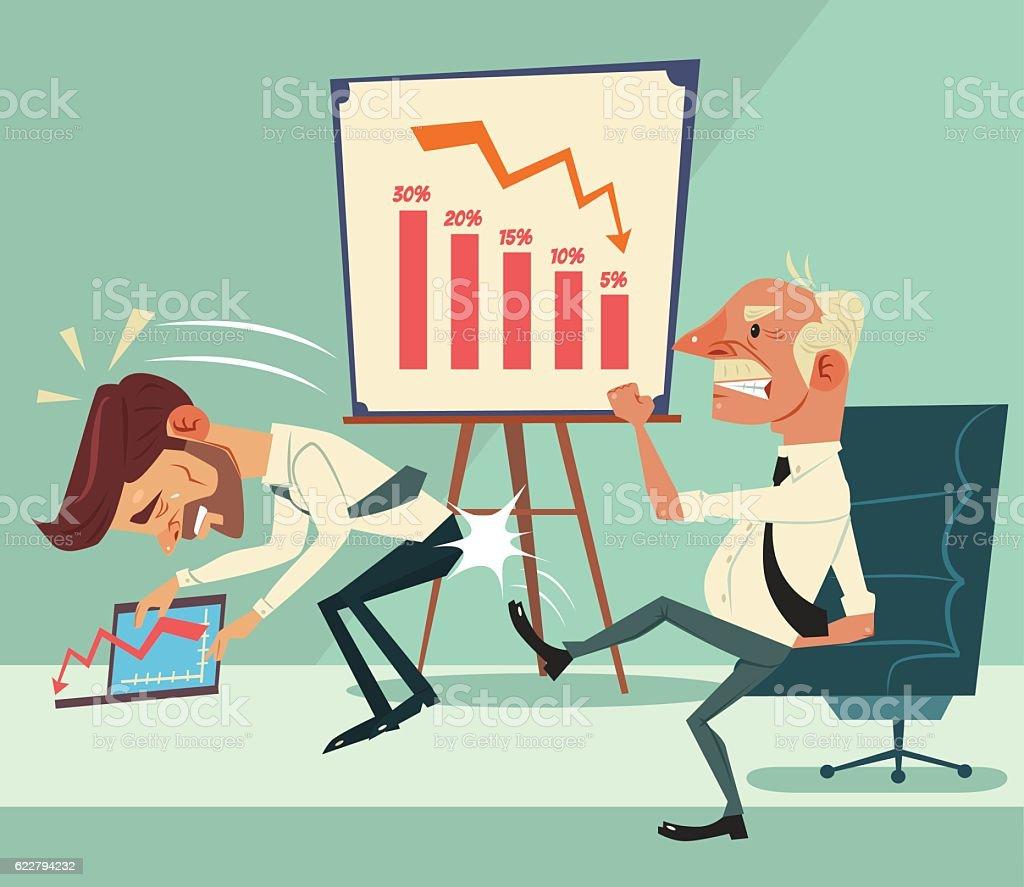 Angry boss character kick worker character ass. Financial crisis vector art illustration