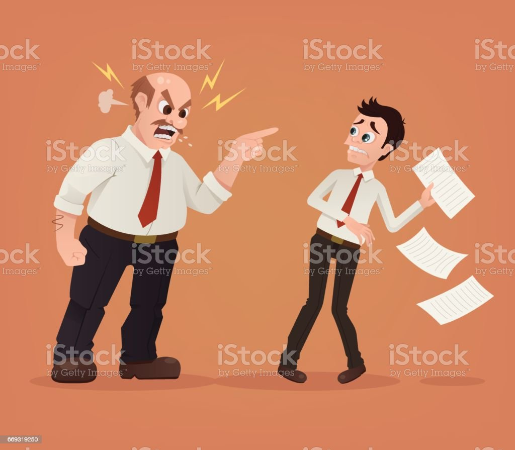 Angry boss character yelling at employee office worker vector art illustration