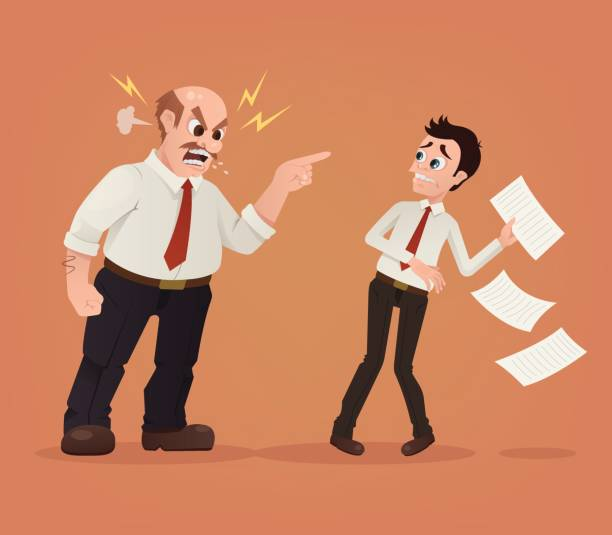 Angry boss character yelling at employee office worker Angry boss character yelling at employee office worker. Vector flat cartoon illustration aggression stock illustrations