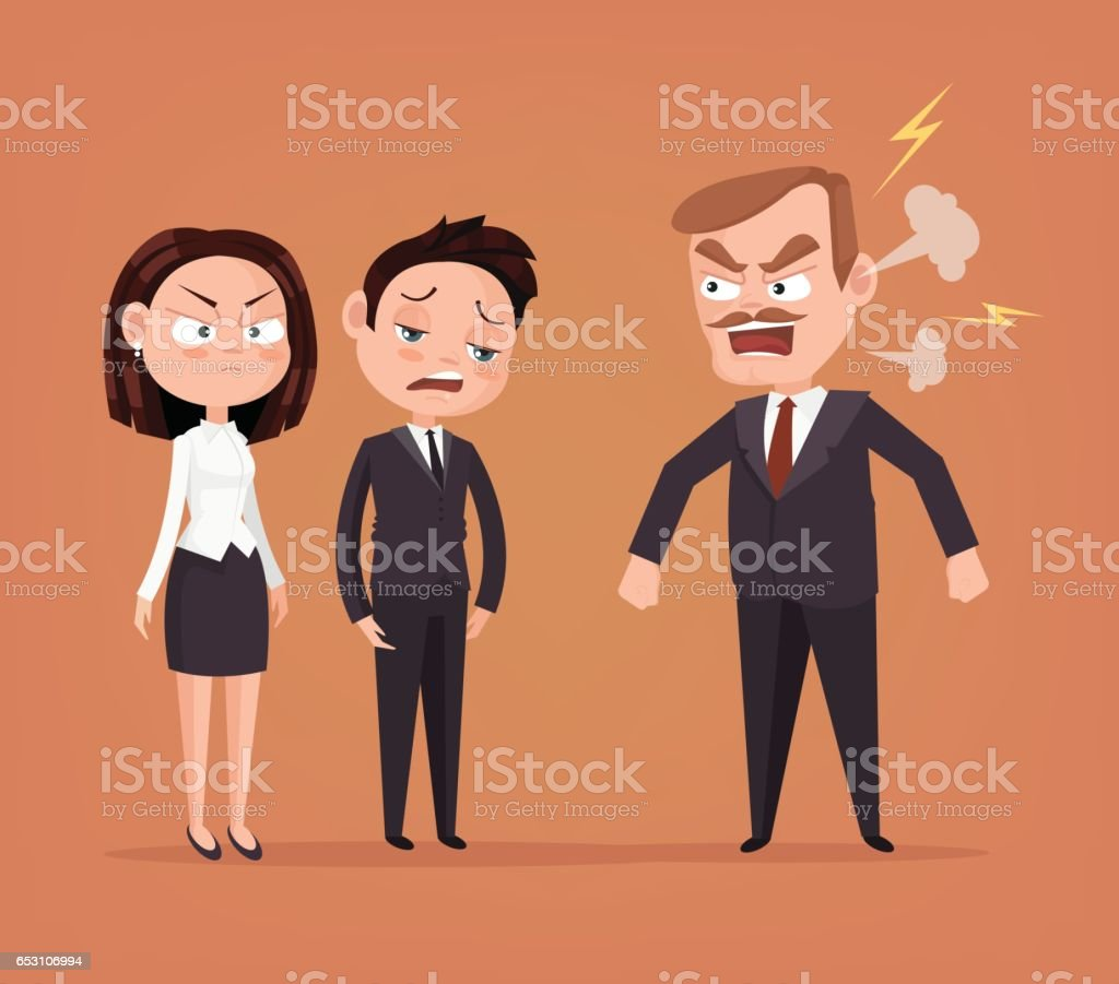 Angry boss character yelling at employee vector art illustration