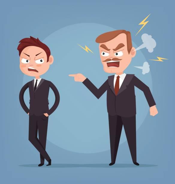 illustrations, cliparts, dessins animés et icônes de caractère de patron en colère criant au travailleur - emoji paresseux