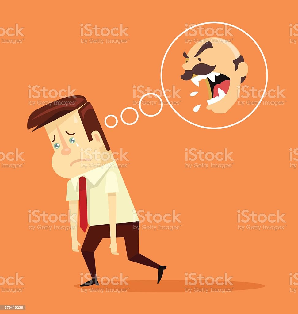 Angry boss. Fired office worker character. Vector flat cartoon illustration vector art illustration