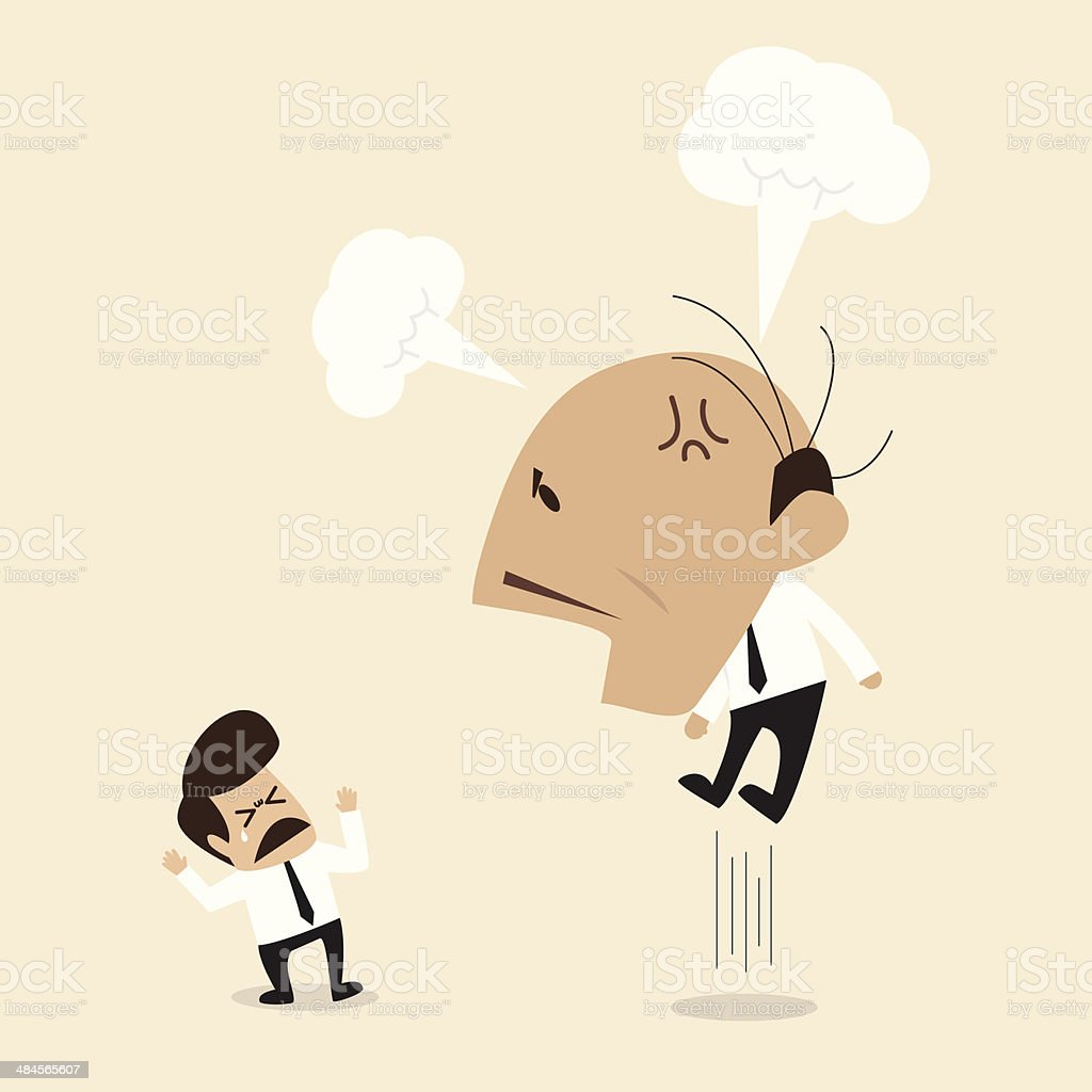 Angry Boss is shouting to his employee vector art illustration