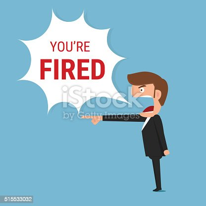 istock Angry boss saying you're fired word. 515533032