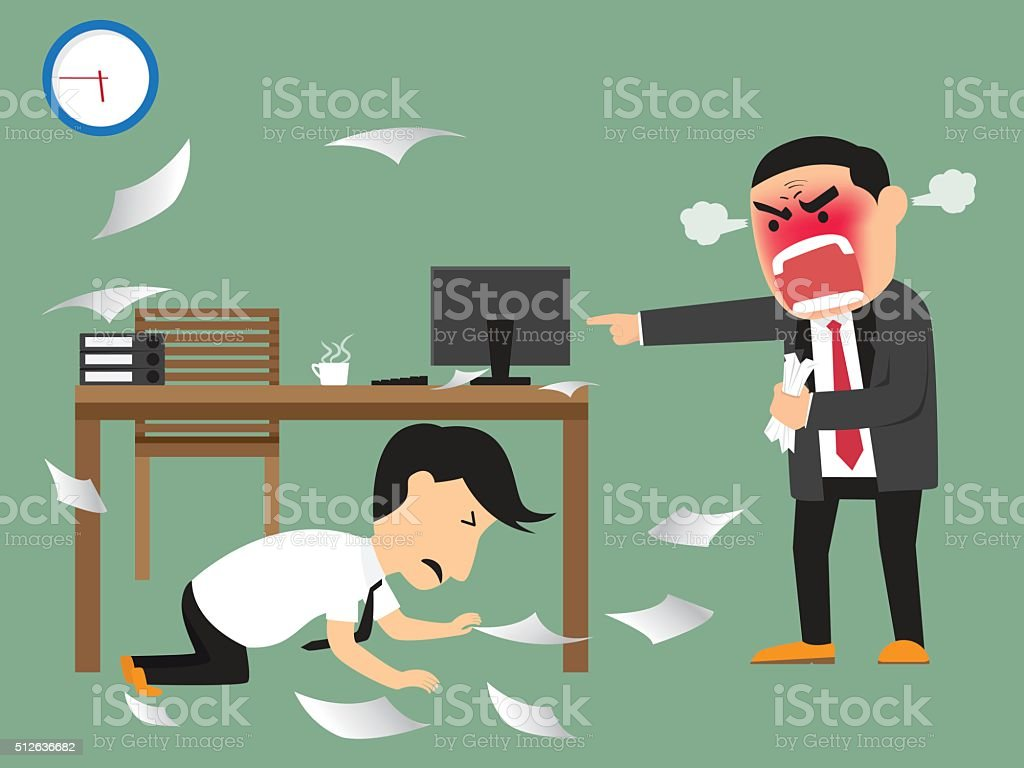 Angry boss shooting his employee on deadline, vector art illustration