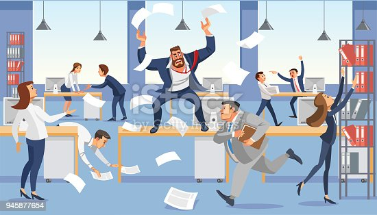 Angry boss shout in chaos office because of failure deadline. Stressed vector cartoon characters. Office workers hurry up with job. Fun cartoon characters. Vector illuctration of work situation in office interior.