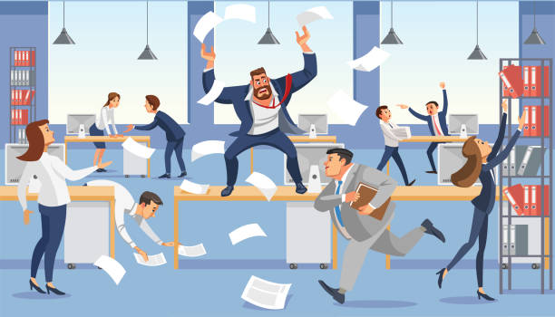 illustrazioni stock, clip art, cartoni animati e icone di tendenza di angry boss shout in chaos office because of failure deadline. stressed vector cartoon characters. - disordinato