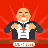 Angry Boss Tearing Sheet White Paper Contract Character Symbol Business