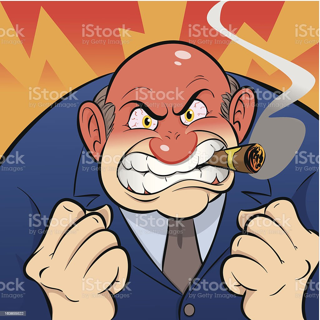 Angry Boss A large, bald, boss character smoking a cigar and loosing his temper. Adult stock vector