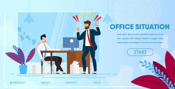 Angry Boss Yelling bei Mitarbeiter gearbeitet. – Vektorgrafik
