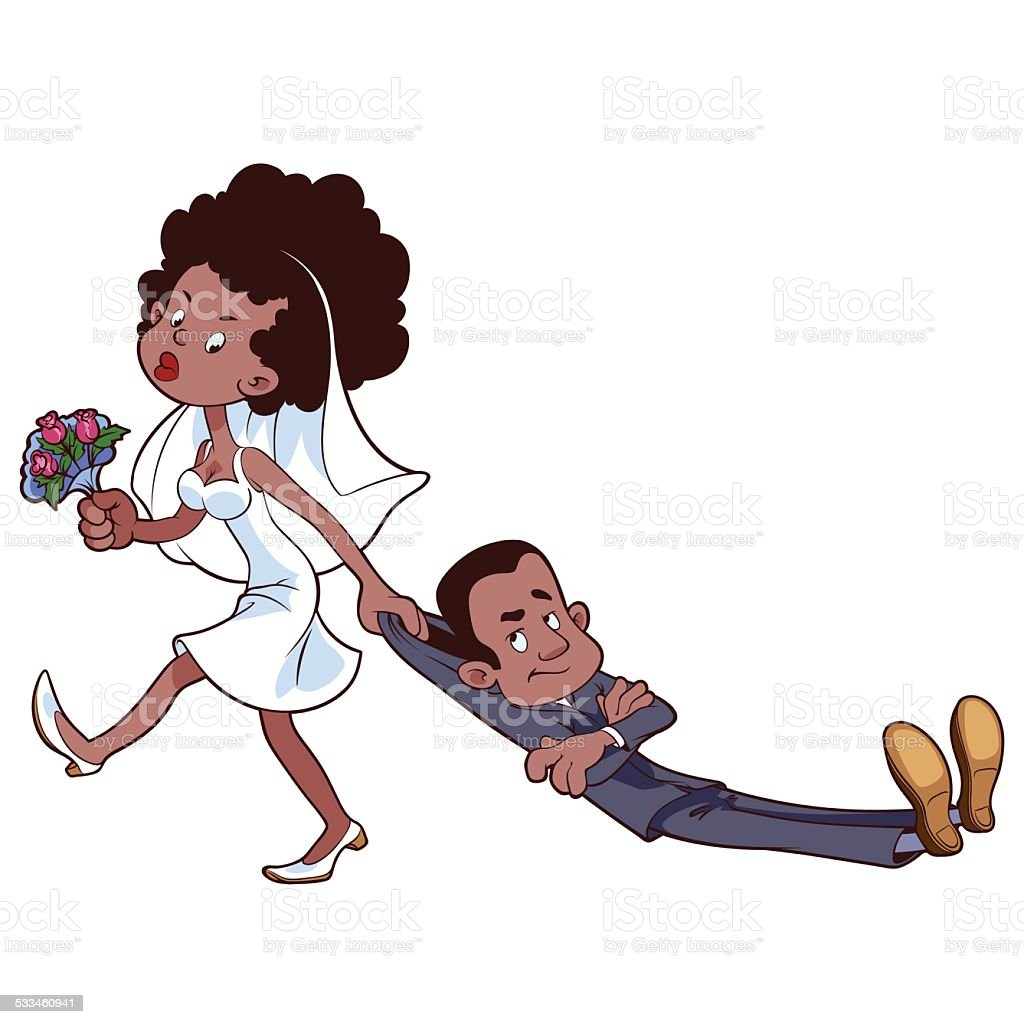 Angry bride drags the groom  to get married vector art illustration