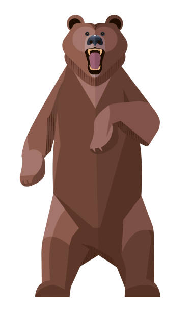 angry brown bear - bär stock-grafiken, -clipart, -cartoons und -symbole
