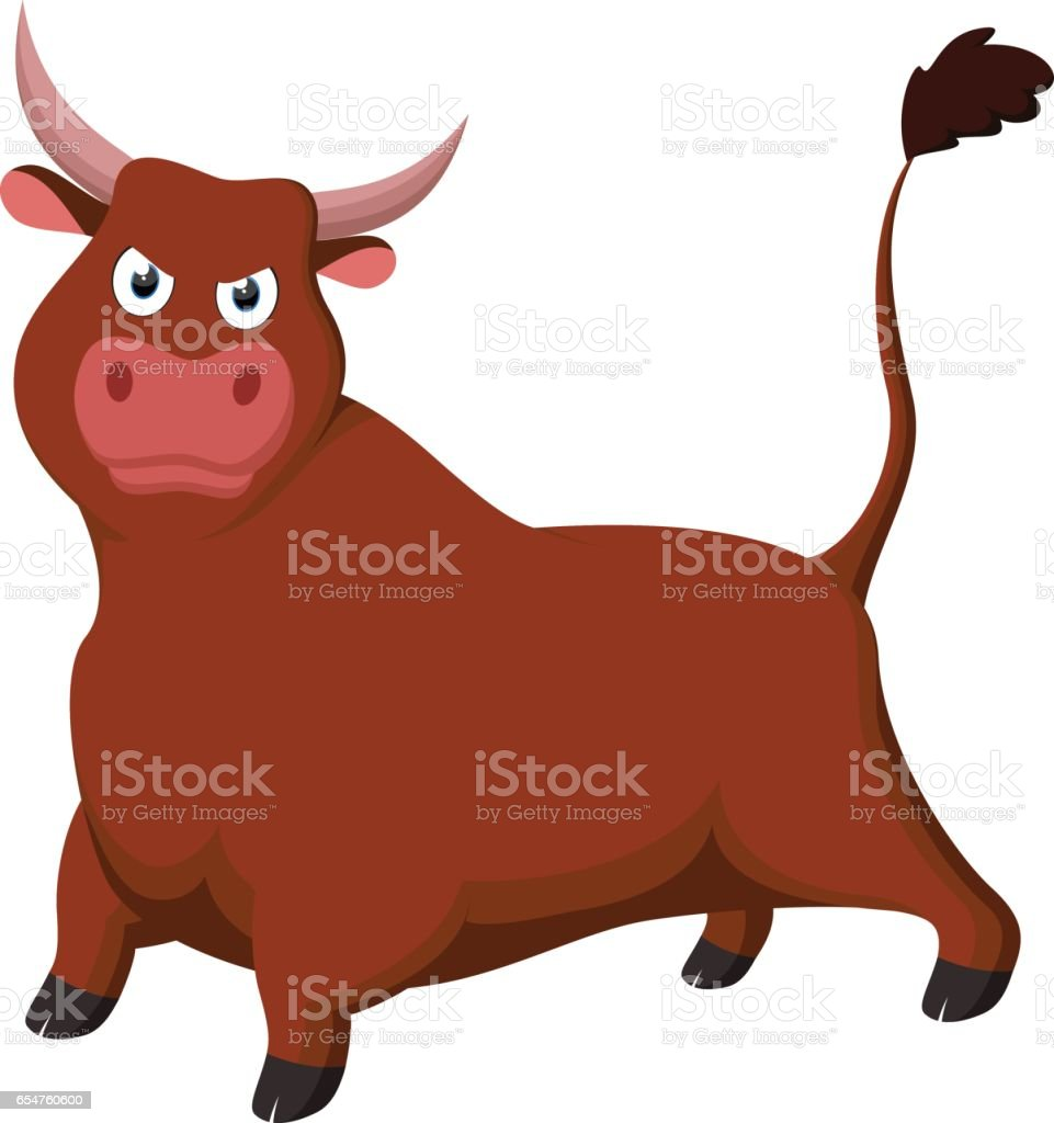 Angry Bull cartoon vector art illustration