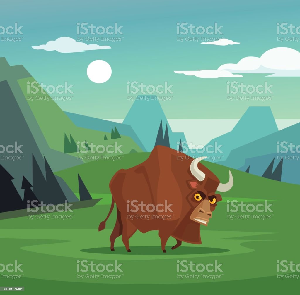 Angry bull character grazing in field vector art illustration