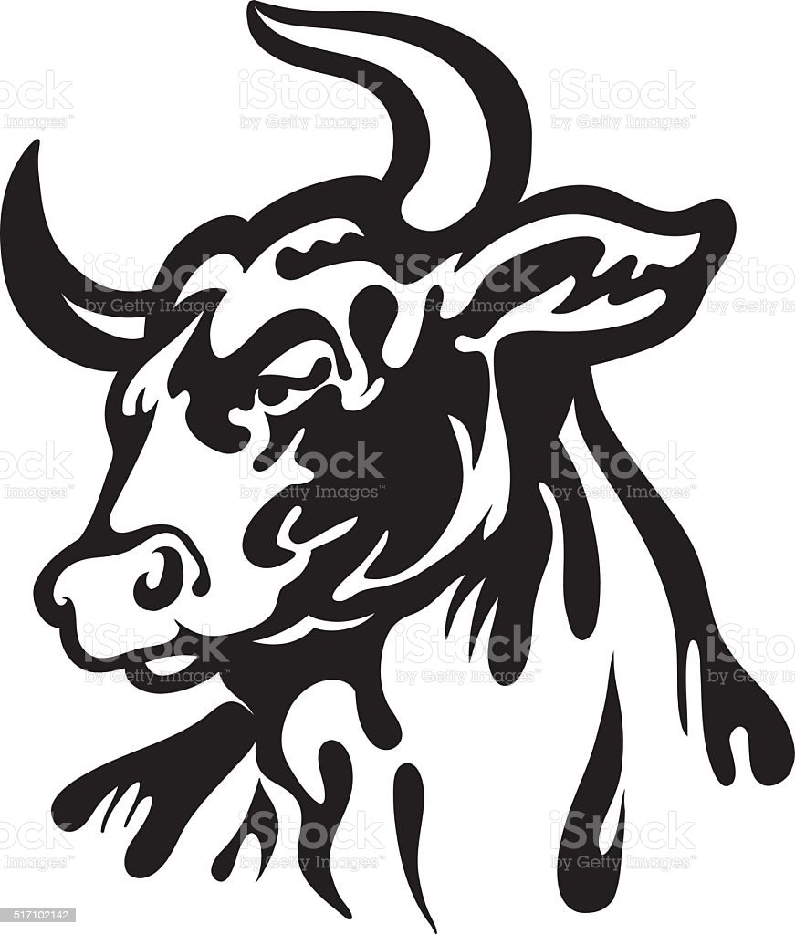 angry bull head vector art illustration