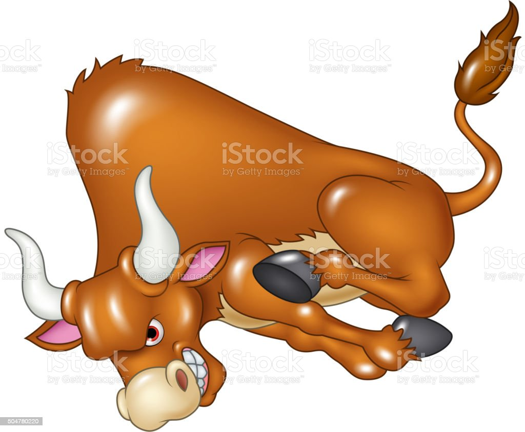 Angry bull is attacking isolated on white background vector art illustration
