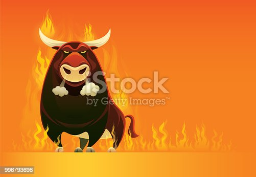 vector illustration of angry bull on fire
