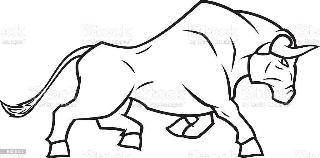 Angry bull running vector art illustration
