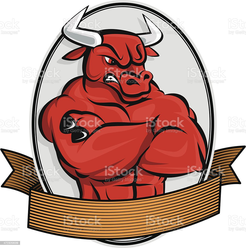 Angry Bull vector art illustration