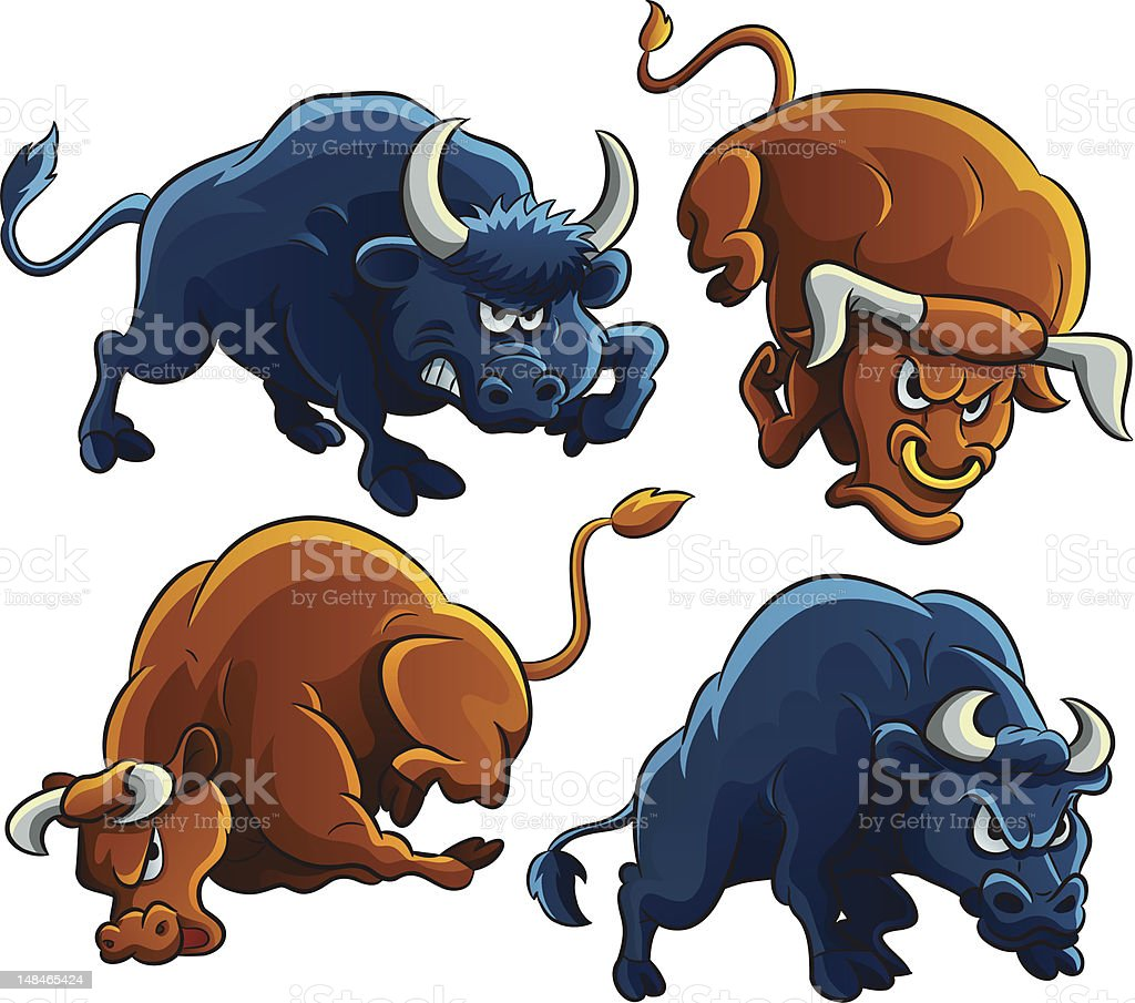 Angry Bulls vector art illustration