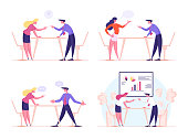 istock Angry Business Characters Quarrel and Fight, Business Man and Woman Arguing in Office. Competition, Colleagues Fighting for Leadership, Disagreement Speech Bubbles. Cartoon People Vector Illustration 1226750294