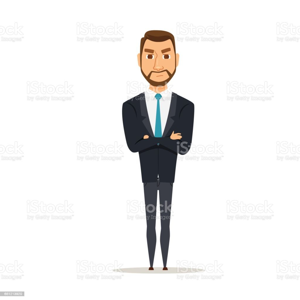 Angry business man vector art illustration