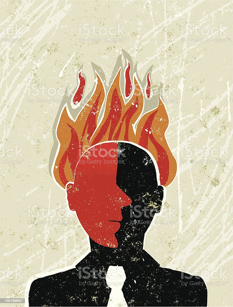 Angry Business Man With his Head on Fire royalty-free angry business man with his head on fire stock vector art & more images of adult
