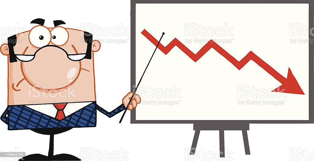Angry Business Manager With Pointer Presenting A Falling Arrow royalty-free angry business manager with pointer presenting a falling arrow stock vector art & more images of adult
