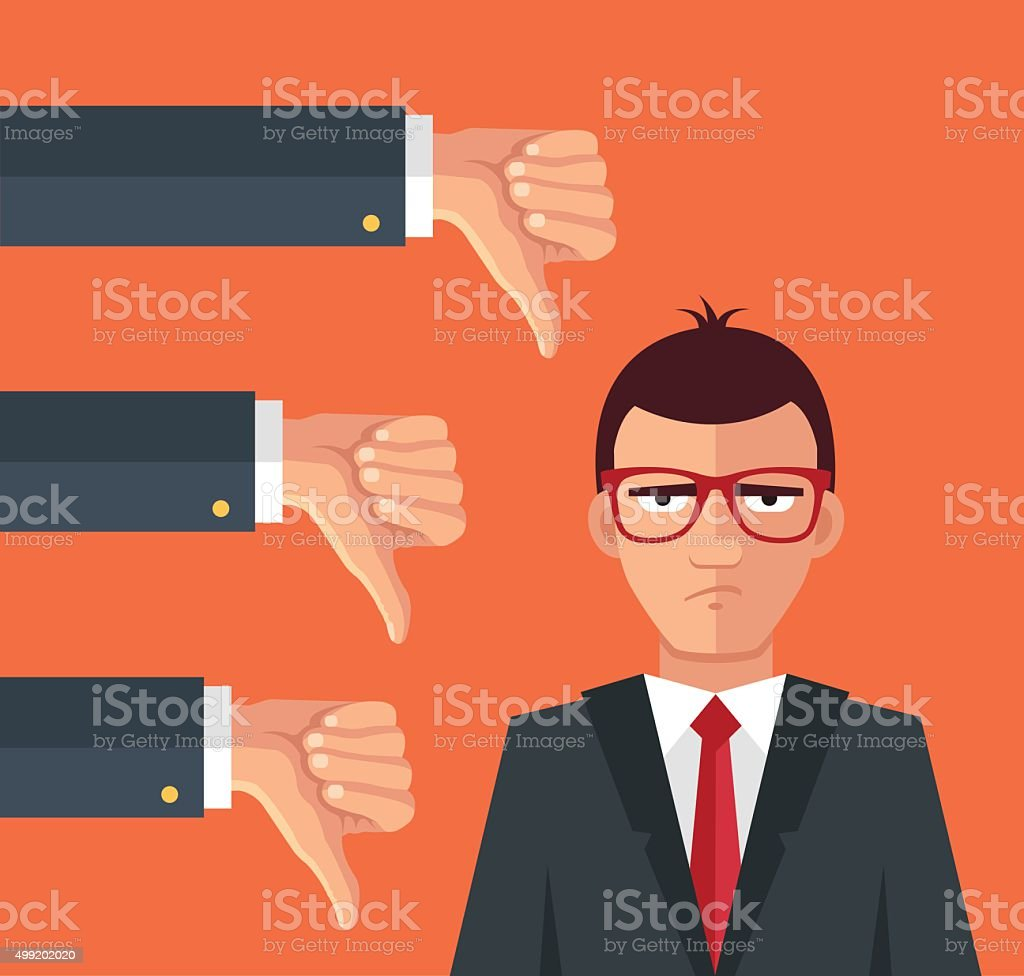 Angry businessman and many hands with thumbs down vector art illustration