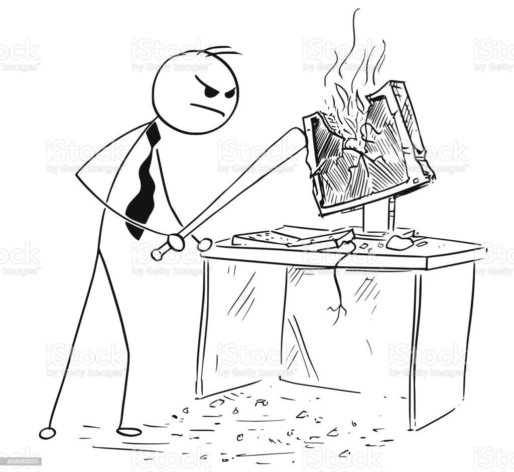 Angry Businessman Destroying Smashing Computer with Baseball Bat vector art illustration