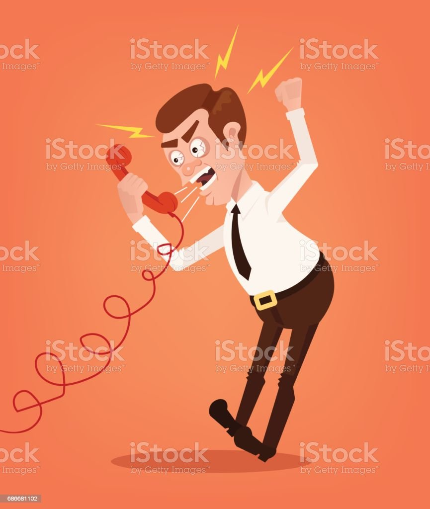 Angry businessman office worker consultant man character shouting and yelling on phone vector art illustration