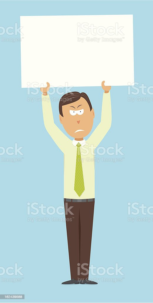 Angry businessman protesting with copyspace royalty-free stock vector art